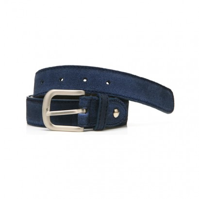 Suede Leather Belt - blue