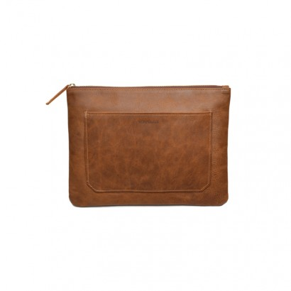 Genuine Leather Ena Clutch - lightbrown