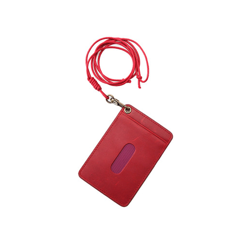 Oil Pull Up Leather CardHolder - red