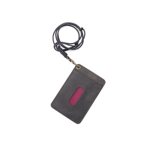 Oil Pull Up Leather CardHolder - gray