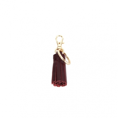 pocket leather tassel - burgundy