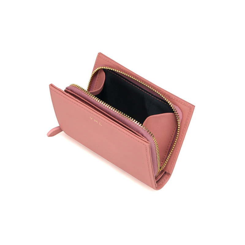 TONA ZIPPER WALLET - PEACH PINK